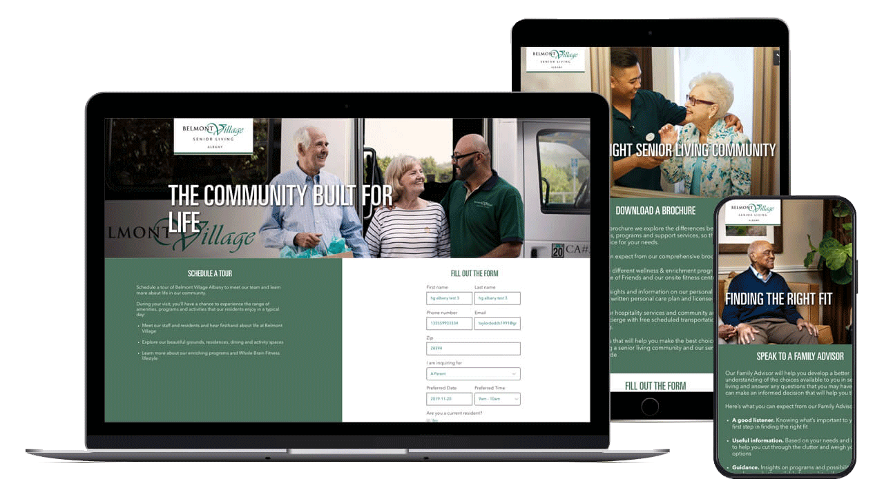 Belmont village website multiple devices